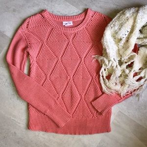 Shrinking Violet Sweaters - Salmon Color Knit Sweater